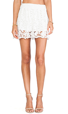 Nightcap Daisy Crochet Flare Short in White