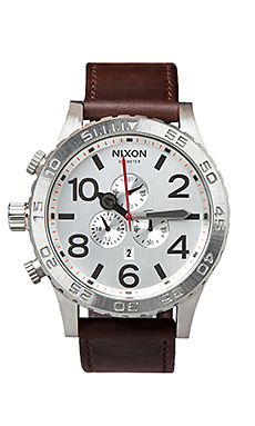 Nixon The 51-30 Chrono Leather in Silver Brown