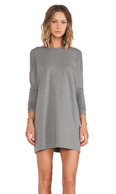 Sweats by Norma Kamali Crew Neck Tunic Dress in Dark Grey