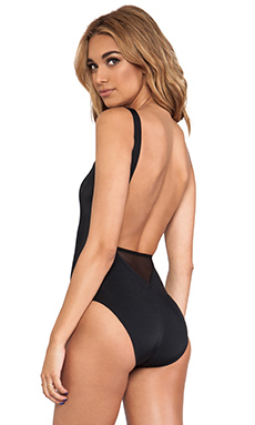 Norma Kamali V Neck Spliced One Piece in Black