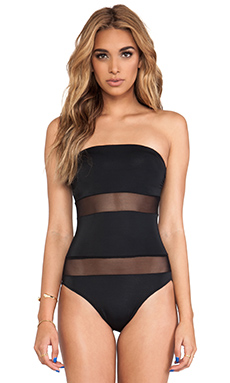 Norma Kamali Spliced Bandeau One Piece in Black