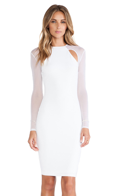 Nookie Stiletto Mesh Long Sleeved Dress en Blanc