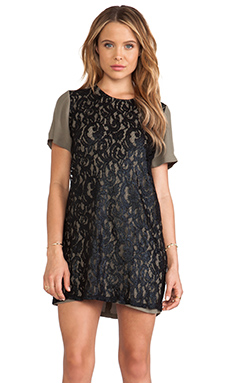 Nookie Lovelace Tee Dress in Khaki/Black
