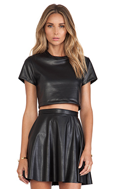 Nookie Black Jack Crop Tee in Leather Look