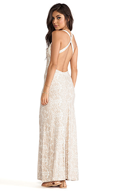NOVELLA ROYALE Midnight Rambler Maxi Dress in White Chantilly