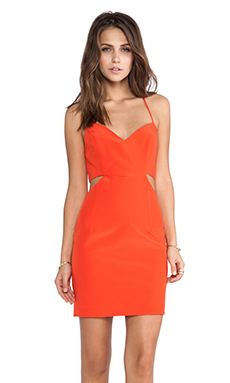 Naven Lux V Neck Cut Out Dress in Orange Crush