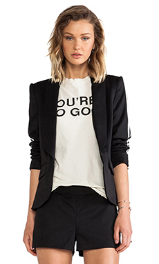 PAM & GELA Ribbed Slim Blazer in Black