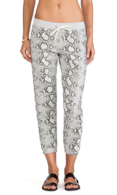 Pam & Gela Printed Basic Crop Pant in Heather Grey