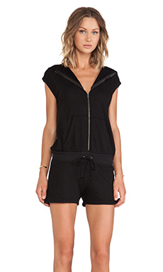 Pam & Gela Sleeveless Hooded Romper in Black