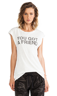 PAM & GELA You Got A Friend Twisted Seam Muscle Tee in Cream