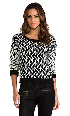 PJK Patterson J. Kincaid Zigzag Pullover in Black/White