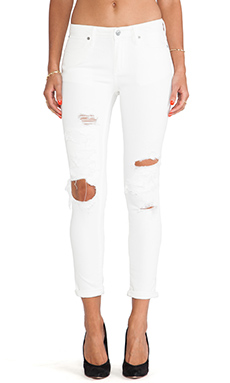Paper Denim & Cloth FLX Ankle Skinny in White Destructed