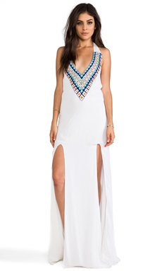 Pia Pauro RS77 Embroidered Maxi w/ Slits in White
