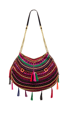 EMBROIDERED BAG WITH TASSELS