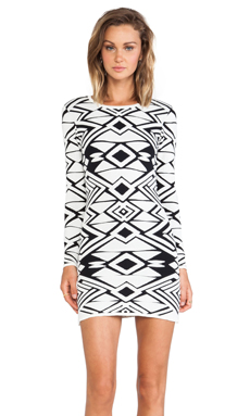 Parker Eve Knit Dress en Black & Ivory