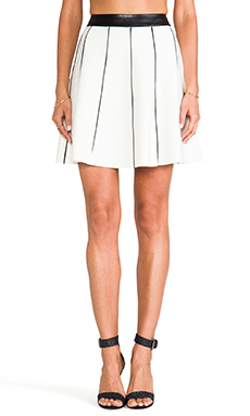 Parker Anika Leather Detailed Skirt in Creme