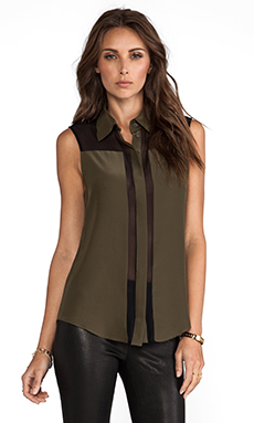 Parker Uma Combo Printed Top in Olive