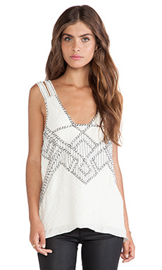 Parker Nadia Sequined Top en Blanc