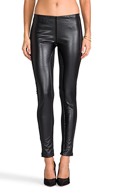 Plush Faux Leather Paneled Legging in Black