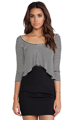 Rachel Pally Rib 3/4 Sleeve Cropped Top in Black Stripe