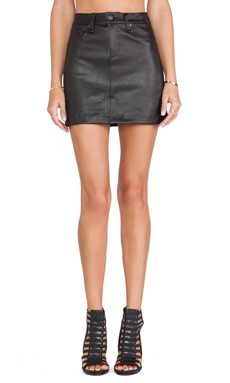 rag & bone/JEAN Mini Skirt in Black Leather