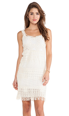 Raga Crocheted Mini Dress in Eggshell