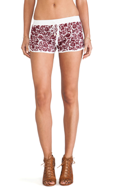 Raga Embroidered Mini Shorts in Maroon