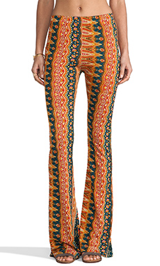 Raga Printed Wide Leg Pants in Orange & Navy Multi