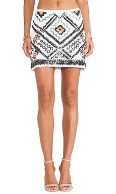 Raga Embellished Mini Skirt in Eggshell