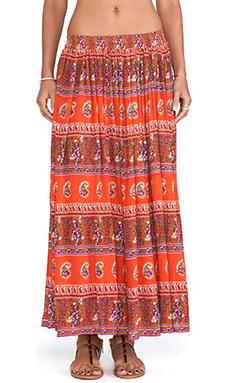 Raga Printed Maxi Skirt in Orange