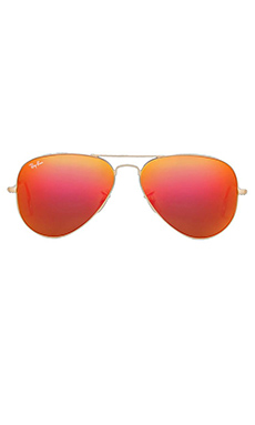 Ray-Ban Large Metal Flash Lense Aviator in Matte Gold/Crystal Orange Mirror