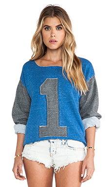 Rebel Yell #1 Blocked Boyfriend Cut Off Sweatshirt in Vintage Royal