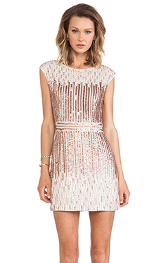renzo + kai Embellished Cap Sleeve Dress in Ivory & Rosegold