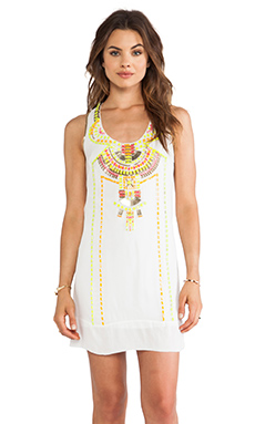 renzo + kai Embellished Stone Dress in White Multi