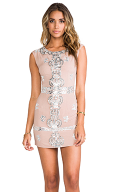 renzo + kai Laura Sequin Dress in Blush/Silver