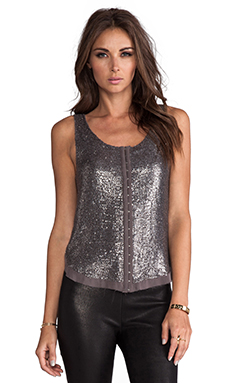 renzo + kai 2 Tone Sequin Hook and Eye Tank in Grey/Silver