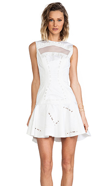 Robert Rodriguez Kuba Embroidered Dress in White