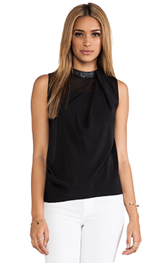 Robert Rodriguez Armor Beaded Silk Top in Black