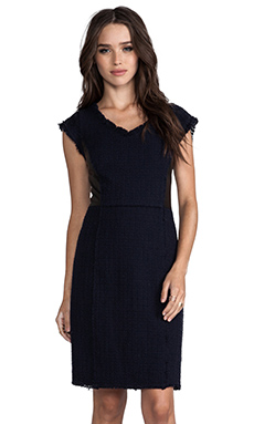 Rebecca Taylor Tweed and Leather Shift Dress in Navy