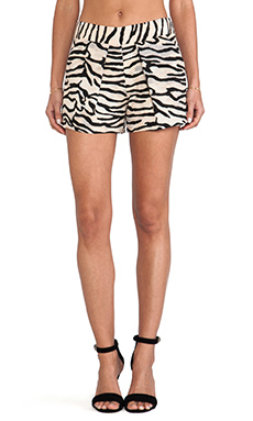 Rebecca Taylor Tiger Print Shorts in Natural