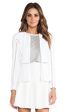 Rebecca Taylor Long Sleeve Inset Jacket in Sea Salt