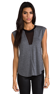 Rebecca Taylor Knit and Chiffon Top in Charcoal