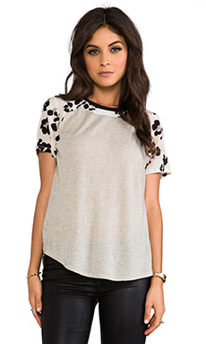 Rebecca Taylor Short Sleeve Cool Cat Print Tee in Cream