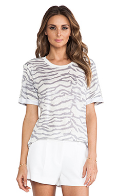 Rebecca Taylor Tiger Print Tee in Snow
