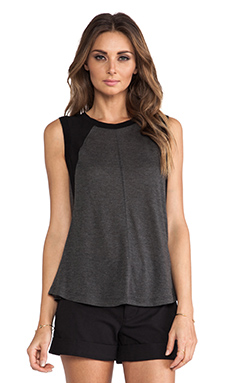 Rebecca Taylor Knit & Chiffon Top in Charcoal