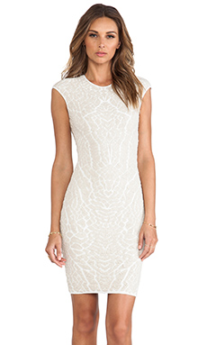 RVN Alligator Jacquard Sheath Dress in Nude/White