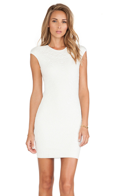 RVN Geo 3D Jacquard Dress in White & White