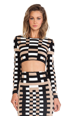 RVN Mondrian Jacquard Long Sleeve Crop Top in Tan & Black & White
