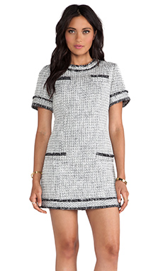 RACHEL ZOE Riley Tweed Dress in Black & Winter White
