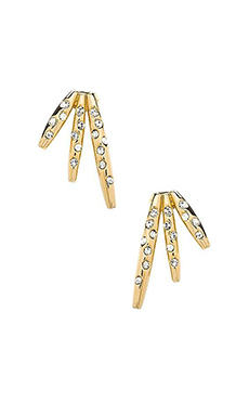 RACHEL ZOE Quills Button Earrings in Gold & Crystal